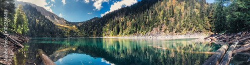 Fotobehang Grijze traf. Beautiful panoramic view of Small Ritsa mountain lake in Ritsa National Park on a sunny summer day, Abkhazia