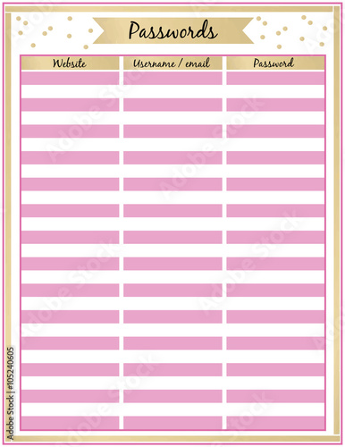photograph regarding Password Tracker named Pword tracker Printable Planner Web page Minimalistic red