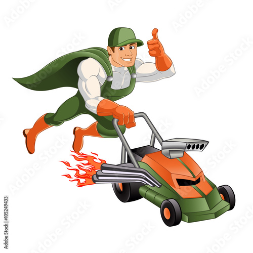 Cartoon Man On Mower : Superhero mowing lawn mower cartoon buy this stock