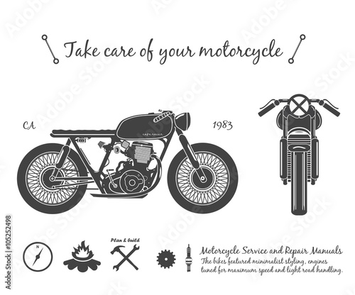 Canvas Print Vintage motorcycle infographic. Cafe racer theme.