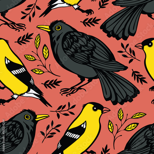 Poster Blackbird and Goldfinch background