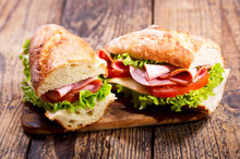 Two Sandwiches With Ham And Vegetables