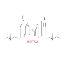 City Pulse Concept With Cardiogram And Skyscrapers Skyline