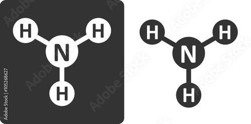 Ammonia (NH3) molecule, flat icon style. Canvas Print