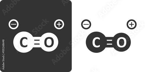 Carbon monoxide molecule, , flat icon style. Stylized rendering. Canvas-taulu