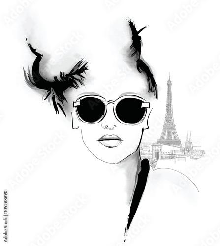 Cadres-photo bureau Art Studio Young pretty fashion model in Paris