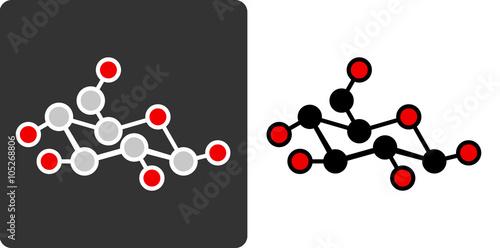 Fotografía  Sugar (glucose, beta-D-glucose) molecule, flat icon style.