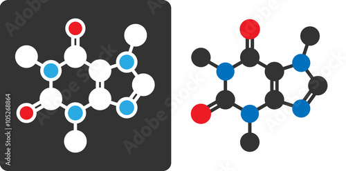 Photo Caffeine stimulant molecule, flat icon style.
