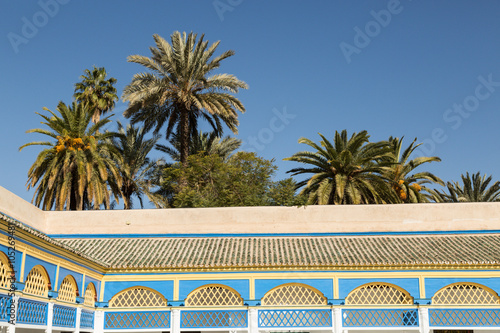 Fotografie, Obraz  decoration of the 19th century Bahia Palace surrounded by palm trees, Marrkech