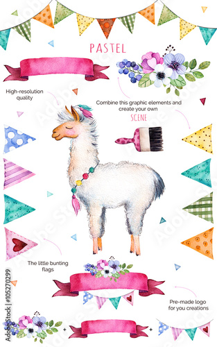 Happy Birthday CollectionPattern With Individual Elements For Your Own Designflowersbunting Flagscute LlamabouquetsgarlandsribbonsPerfect