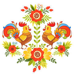 Fototapeta Folklor Folk ornament with flowers, traditional pattern. Vector illustration of bright and colorful roosters flower on a white background.