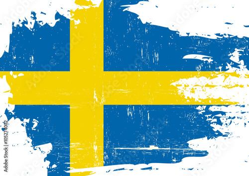Fotografía  Swedish scratched Flag