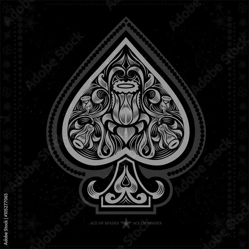 ace of spades with flower pattern inside. white in black плакат