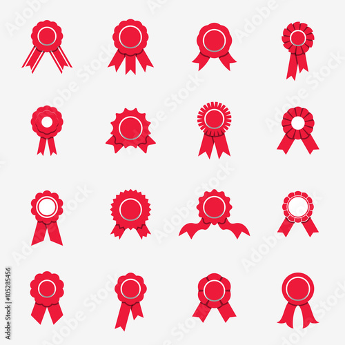 Stampa su Tela Collection of sixteen red rosette icons in flat style
