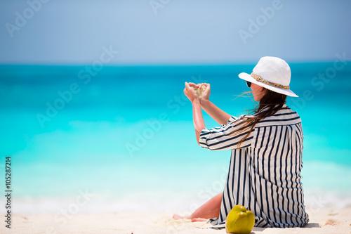 Poster Zanzibar Young beautiful woman on beach vacation