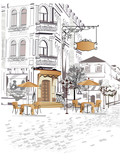Series of backgrounds decorated with old town views and street cafes. - 105288675
