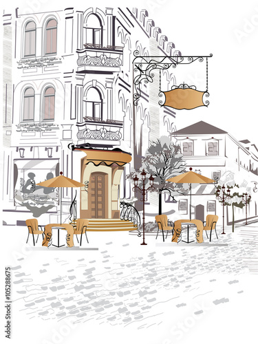 Foto auf AluDibond Gezeichnet Straßenkaffee Series of backgrounds decorated with old town views and street cafes.
