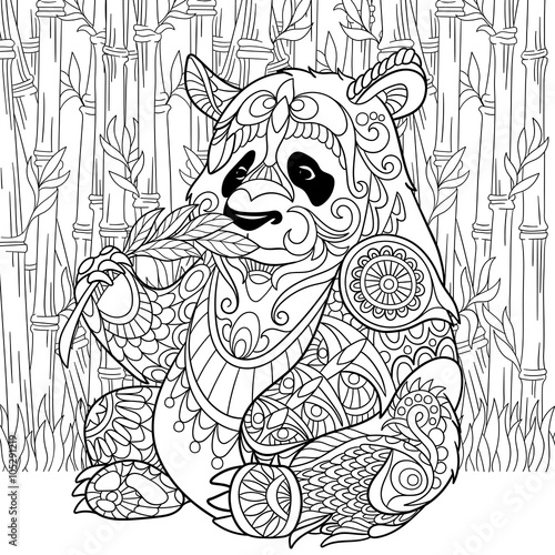 99845106bd469 Zentangle stylized cartoon panda sitting among bamboo stems. Sketch for  adult antistress coloring page. Hand drawn doodle, zentangle, floral design  elements ...