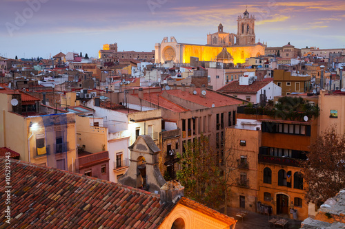 Tarragona with Cathedral in evening time. Spain