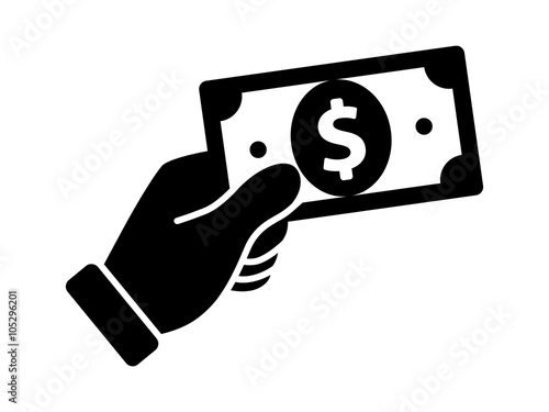 Payment with money, buying or purchase of goods flat icon for apps and websites Wallpaper Mural