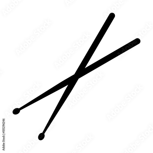 Fotografia Drumsticks or drum sticks flat icon for music apps and websites