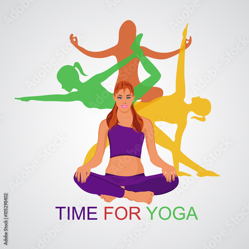 Fototapeta Vector illustration of Yoga poses, woman, Pilates, app,banner  obraz na płótnie