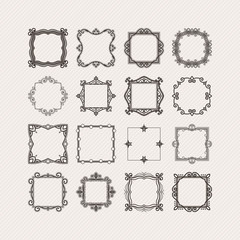Set of ornate vector mandala borders and frames. Gothic lace tattoos. Celtic weave with sharp corners.