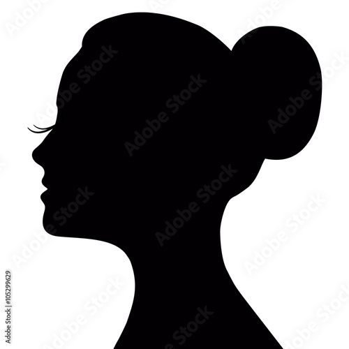 Vector Profile Of A Beautiful Girl Logo Design Womans Face With