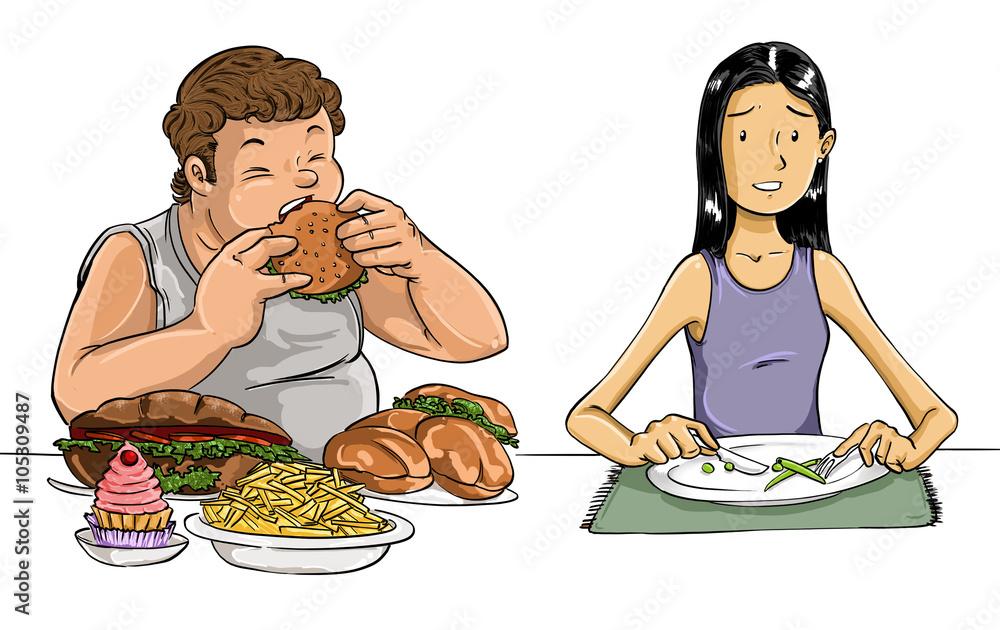 Fotografía Ilustración De Hombre Y Mujer Con Anorexia