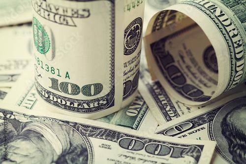 Fotografía  Heap of cash US dollar bills background, closeup
