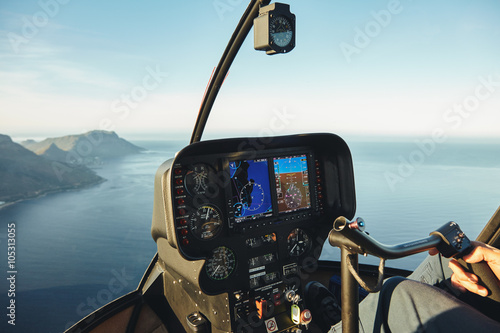 Fotografie, Obraz  Helicopter cockpit with instruments panel