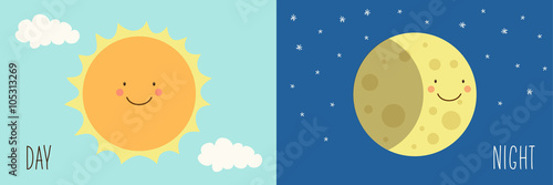 Cute smiling cartoon characters of Sun and Moon as Day and Night symbols