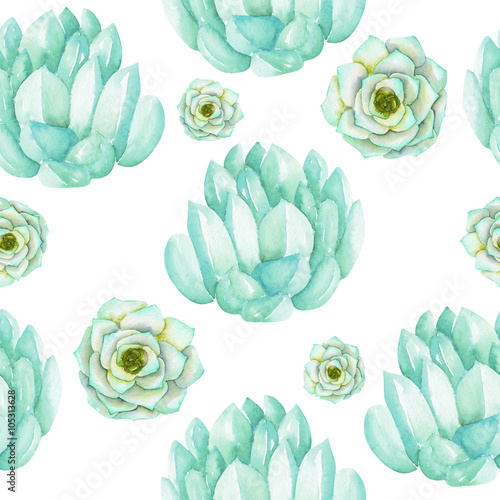 Cotton fabric A seamless pattern with the watercolor blue and mint succulents, hand-drawn on a white background