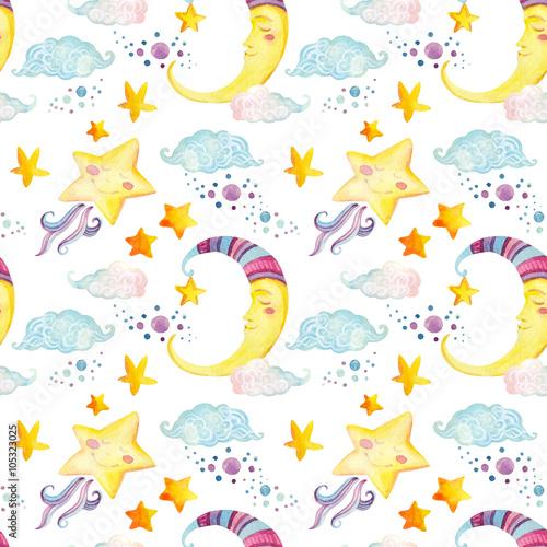 akwarela-basniowy-wzor-z-magiczne-slonce-ksiezyc-slodkie-male-gwiazdy-i