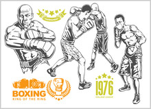 Fight Between Two Boxers - Set Of Monochrome Illustrations.Plus Vintage Boxing Emblems, Labels, Badges, Logos And Designed Elements.