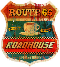 Vintage Route 66 Roadhouse Sign, Vector
