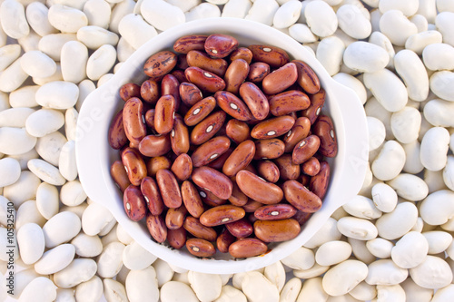 Poster Pays d Europe Haricot beans red color in a white mini pot