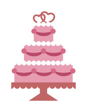 Pink Wedding Cake With Hearts And Beads Flat Vector Party Food.