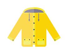 Yellow Raincoat Weather Jacket Cartoon Vector Illustration.