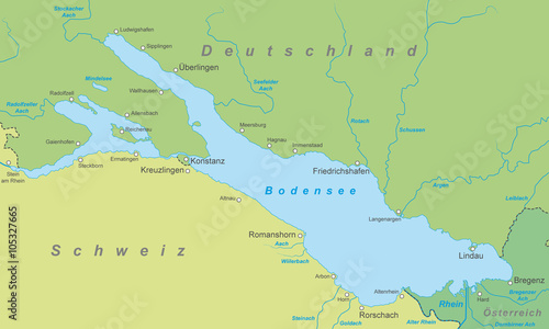 Der Bodensee Karte In Gruntonen Buy This Stock Vector And