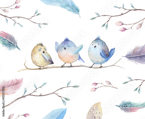 Hand drawing watercolor flying cartoon bird witm leaves, branche Canvas Print
