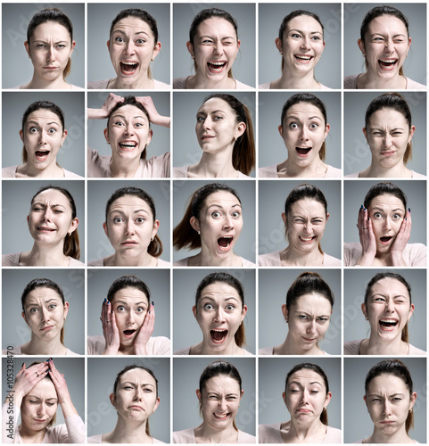 Fotografía  Set of young woman's portraits with different emotions