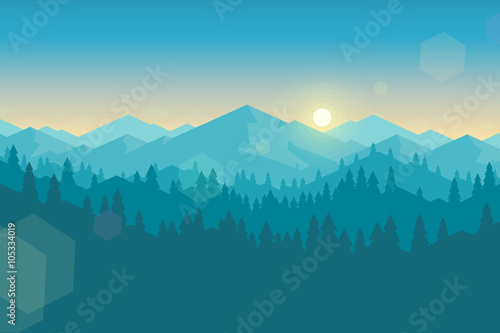 Foto op Aluminium Groen blauw Vector mountain and forrest landscape early in the morning.
