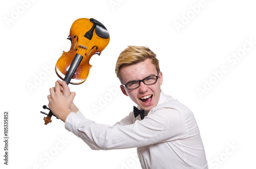 Keuken foto achterwand Art Studio Young funny violin player isolated on white