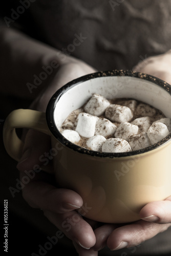 Cup of cocoa with marshmallows in the hand