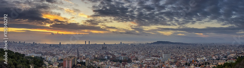 Panoramic skyline at sunrise, Barcelona, Spain