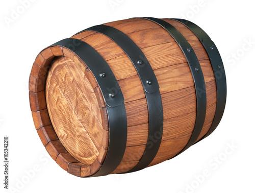 Wooden oak barrel isolated on white background