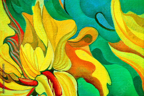 Fototapety, obrazy: decorative painting by oil on canvas, illustration