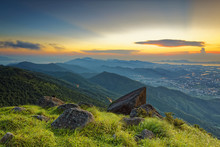 Sunset Over New Territories In Hong Kong