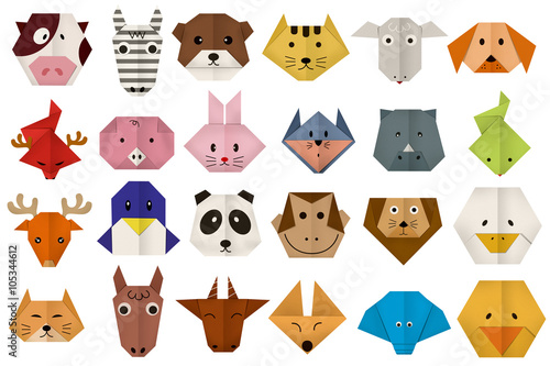 Staande foto Zoo origami paper all animal face